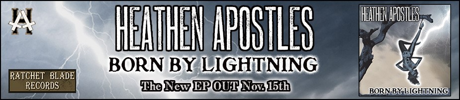 heathen apostles born by lightning banner